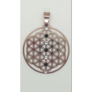 Anhänger Blume des Lebens rosé 35mm mit schwarzen und weißen Kristallen