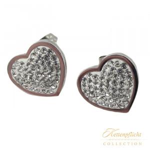 Ohrstecker Herz mit Kristallen