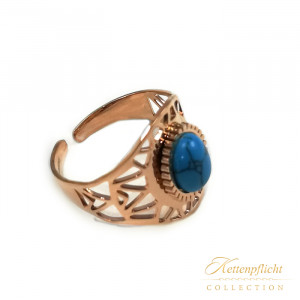 Ocean Blue Ring Edelstahl rosé mit Türkis
